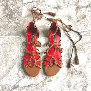 Charles Jourdan brown lace up gladiator sandals